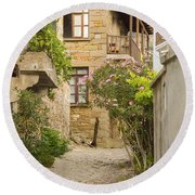 Zeytinli Village Cobblestone Lane Round Beach Towel