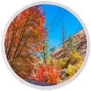 Zion Autumn Colors Round Beach Towel