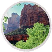 Zion Canyon Red Cliffs Round Beach Towel