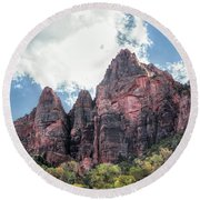 Zion Canyon Terrain Round Beach Towel