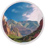 Zion Cliffs Round Beach Towel