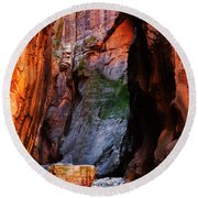 Zion Narrows With Boulder Round Beach Towel