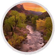 Zion National Park The Watchman Round Beach Towel