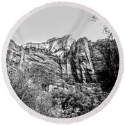 Zion National Park Utah Black White  Round Beach Towel