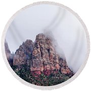 Zion Red Rock And Clouds Round Beach Towel