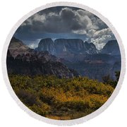 Zion-rock On Round Beach Towel