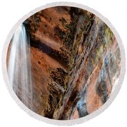 Zion Waterfall At Emerald Pools Round Beach Towel