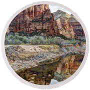 Zions National Park Angels Landing - Digital Painting Round Beach Towel