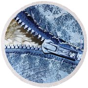Zipper In Blue Round Beach Towel