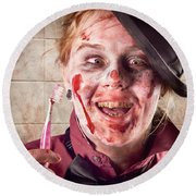 Zombie At Dentist Holding Toothbrush. Tooth Decay Round Beach Towel