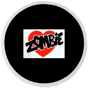 Zombie Love Round Beach Towel