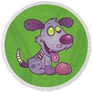 Zombie Puppy Round Beach Towel
