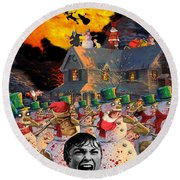 Zombie Snowmen Christmas Round Beach Towel by Barry Kite
