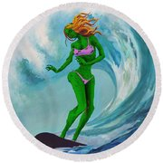 Zombie Surf Goddess Round Beach Towel