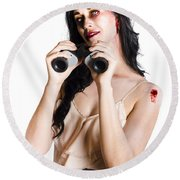 Zombie Woman With Binoculars Round Beach Towel