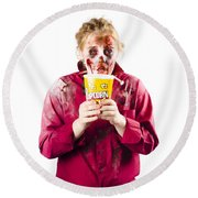 Zombie Woman With Popcorn Round Beach Towel