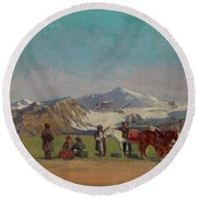 Zommer, Richard 1866-1939 In The Mountains Of Alatau Round Beach Towel