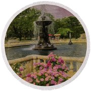 Zoo Fountain 2 Round Beach Towel