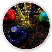 Zoo Lights Ornaments Round Beach Towel