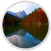 Zugspitz And Riessersee Garmish Germany Round Beach Towel