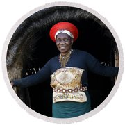 Zulu Woman Round Beach Towel