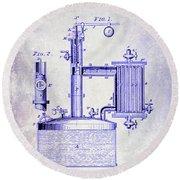 1878 Beer Boiler Patent Blueprint Round Beach Towel