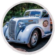 1938 Diamond T Stakebed Truck Round Beach Towel