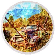 1950 Gmc Truck Round Beach Towel