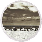 A Day On The Jersey Shore Round Beach Towel