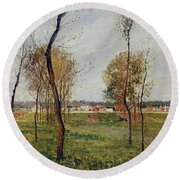 A Meadow In Eragny, 1889 Round Beach Towel