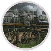 Abandoned Steam Locomotive  Round Beach Towel