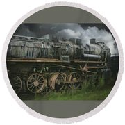 Abandoned Steam Locomotive  Round Beach Towel