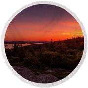 Acadia National Park Sunrise  Round Beach Towel