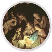 Adoration Of The Shepherds Round Beach Towel