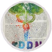 Advanced Practice Registered Nurse Gift Idea With Caduceus Illus Round Beach Towel