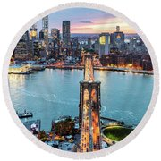 Aerial Of New York City  And Brooklyn Bridge At Dusk Round Beach Towel