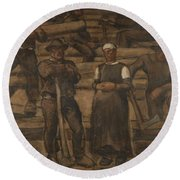 Albin Egger-lienz 1868 - 1926 The Ages Of Life Round Beach Towel