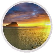 Amazing View Of Le Morne Brabant At Sunset.mauritius. Panorama Round Beach Towel