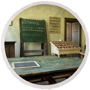 An Old Classroom With Blackboard And Boards With Old Script Round Beach Towel