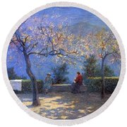 Angelo Morbelli 1853-1919, Spring In Colma - 1906 Round Beach Towel