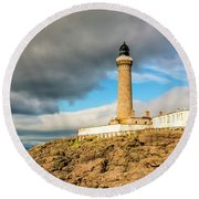 Ardnamurchan Point Lighthouse In Portrait Format. Round Beach Towel