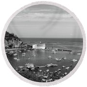Avalon Harbor - Catalina Island, California Round Beach Towel