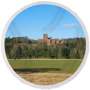 Ayton Castle From South, Berwickshire Round Beach Towel