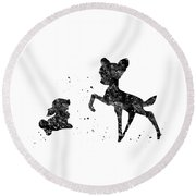 Bambi With Thumper Round Beach Towel