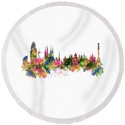 Barcelona Watercolor Skyline Round Beach Towel