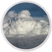 Beautiful Cloudscape High Up In The Sky. Round Beach Towel