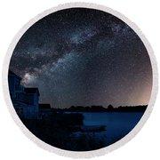 Beautiful Night Sky Astrophotography Landscape Image Of Milky Wa Round Beach Towel