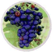 Blue Grape Bunches 6 Round Beach Towel