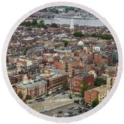 Boston Government Center, North End And Harbor Round Beach Towel