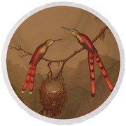 Brazilian Hummingbirds Round Beach Towel